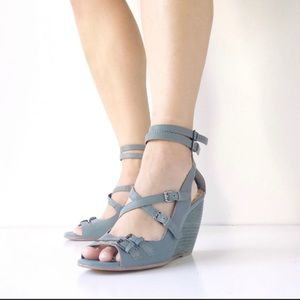 Seychelles Anthropology Strappy Blue Wedge Sandals